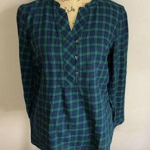 Talbots Women's Checkered Blue/Green Blouse Sz LP